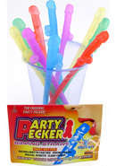 Party Pecker Sipping Straws Assorted Colors 10 Per Pack